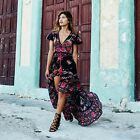 Summer New Women Ladies Vintage Retro Short Sleeve Bohemia Floral Beach Dress