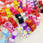 10�100PCS 3D Small Puppy Pet Dog Rhinestone  Hair Bow Rubber Bands Grooming