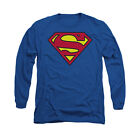 SUPERMAN CLASSIC LOGO Licensed Adult Men's Long Sleeve Graphic Tee Shirt SM-3XL
