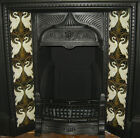 ART NOUVEAU / ARTS & CRAFTS WALTER CRANE SWANS DESIGN FIREPLACE TILES SET BLACK