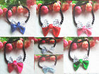 Cute Pet Dog Cat Jewelry Bead Necklace With Bowknot Collar Gift