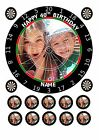 """PERSONALISED DART BOARD OWN PHOTO 7.5"""" EDIBLE CAKE TOPPER WITH CUPCAKE TOPPERS"""