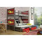 NEW Triple Bunk Beds Wooden Solid Childrens Furniture Boys Beds Mattresses Girls