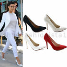 NEW WOMENS LADIES STILETTO MID HIGH HEEL HEELS POINTED TOE COURT SHOES SIZE