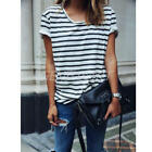 Women Girl Stripe Loose Casual Tops Summer Blouse Short-Sleeve Crew Neck T-Shirt