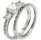 Sterling Silver 3 Stone Round Clear CZ 2in1 Wedding Set Band Ring Size 3-11