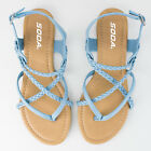Women's Light Blue Braided Thong Sandal Soda Shoes Topping-S
