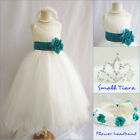Lovely Ivory/teal green pageant wedding flower girl party dress all sizes
