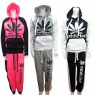 Addicted Ladies Full Tracksuit Set Hooded Sports Gym Jogging Top Bottom CONTRAST
