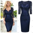 Women's Elegant Evening Party Lace Sleeve Sexy Bodycon Stretch Pencil Dresses