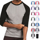 Raglan 3/4 Sleeve New Plain T-Shirt Baseball Tee S-3XL Jersey Sports Men's Tee image