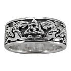 Sterling Silver Celtic Knot Dragon Triquetra Wedding Band Ring - sz 4-15
