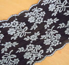 "3.5 - 5.5 Yards 5"" Wide Stretch Black Lace with Embroidered Silver Flower 793"