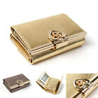 Women's Genuine leather Medium Trifold wallet with kiss lock - Gold, Silver