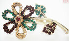 Authentic New Indian Flower Brooches. Diamante Crystals. Red  Gold  Green  Pink
