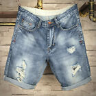 Mens Straight Slim Jeans Summer Casual Distressed Cargo Pants Shorts Trousers
