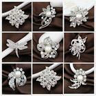 Wedding Bridal Elegant Bouquet Pearl Brooch Pin Silver Flower Rhinestone Crystal