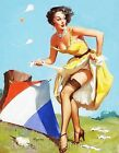 Pin Up Girl Elvgren Go Fly A Kite Quilt Block Multi Szs FrEE ShiPPinG WoRld WiDE