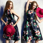 2016 Fashion Deep Blue Women Dresses Sleeveless Floral Printing Dress Sundress