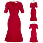 NEW Womens Red Short Sleeve Vintage 50s 60s Retro Evening Party Dress Party Ball