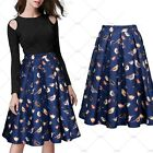 Women Vintage Retro High Waist Birds Flowers Print Pleated Bubble Swing Skirts