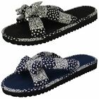 Ladies Navy/Black Spot On Mules/Flip Flops UK Sizes 3 - 8 Samantha