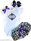 Personalized Infant Baby Onez, Diaper Cover, HB Satin Damask Purple Trm Free Shp