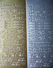 ONE Sheet Mixed Greetings PEEL OFFS in gold/silver happy birthday thank you etc