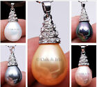 Choose Water Drop Dangle Sea Shell Pearl Solitaire Pendant Crystal Gold Plated