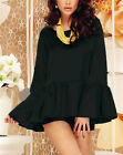 New Fashion Women Flounce Summer Party Top Wide High Low Long Sleeves Hem Blouse