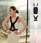 ♡IT♡ Sexy Halter Cross Colour Contrast Cut-out Belly Bodycon Dress Pub Club