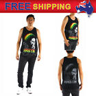 AU New Men T-shirt Tank Top Rasta Reggae Artist 100% Cotton Black Crew Neck M-XL