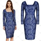 Women Vintage Floral Lace Elegant Evening Party Long Sleeves Casual Pencil Dress