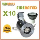 10 X FIRE RATED LED DOWNLIGHTS 240V MAINS GU10 FIXED 4W - 7W DIMMABLE