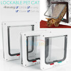 S/M/L Pet Cat Safe 4 Way Locking Flap Screen Door Lockable Small Dog Frame White