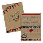 Personalised kraft engagement party invitations BRITISH RETRO FREE ENVELOPES & D
