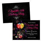 Personalised birthday party invitations CHAMPAGNE PRESENTS PINK FREE ENVELOPES &