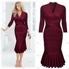 Ladies Sexy V-Neck Fishtail Cocktail Evening Party Business Work Pleated Dresses
