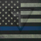 "Kydex Infused Thin Blue Line Flag Print 7 7/8"" X 7 7/8"" W/Black Kydex"