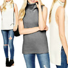 Chunky Knit Sleeveless High Roll Turtle Polo Neck Jumper Step Hem Top Size  Wome