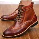 Men's Genuine Leather Carved Bougue Lace Up Pointy Toe Work Ankle Boots Shoes 88