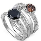 Sterling Silver Topaz Onyx Clear CZ 4 Piece in 1 Stackable Band Ring Size 3-11