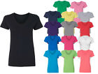 Women V-neck Premium Basic T-shirt Extra Soft lightweight Sizes S - 2XL