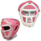 LADIES Rex Leather Boxing Head Guard Face Protection Guard Bar Visor Romovable
