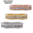 Cubic Zirconia Crystal Paved Double Spacer Bracelet connector Charm Plated 2pcs