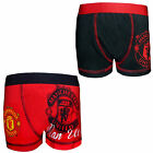 Manchester United FC Official Football Gift 1 Pack Boys Boxer Shorts Red Black