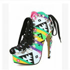Womens Lace Up Platform High Heel Stilettos Roma Fashion Ankle Boots Shoes Size