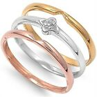 925 Sterling Silver Gold Plated 3 Tone Clear CZ Stackable Journey Ring Size 3-11