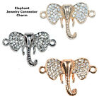 Lucky Elephant Dumbo Crystal Cooper Bracelet connector Charm Silver Plated 8p