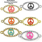 Peace Sign Oval Symbol Crystal Cooper Bracelet connector Charm Plated 8pc